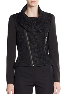 Tahari Angelica Asymmetrical-Zip Jacket