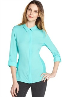 Tahari aqua stretch zipper down 'Val' flip three quarter sleeve blouse