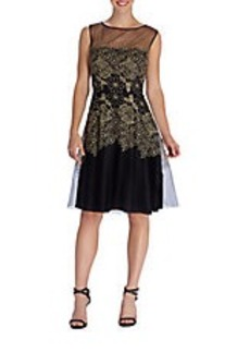 TAHARI ARTHUR S. LEVINE Embroidered Fit-And-Flare Dress
