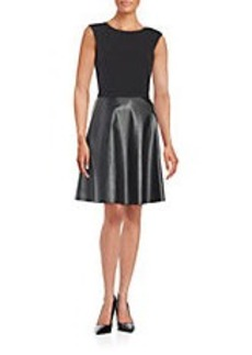TAHARI ARTHUR S. LEVINE Faux Leather-Accented Fit-and-Flare Dress
