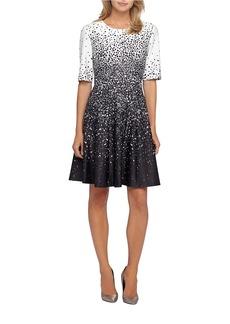 TAHARI ARTHUR S. LEVINE Fit-and-Flare Scuba Dress