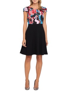 TAHARI ARTHUR S. LEVINE Floral Accented Fit and Flare