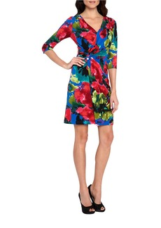 TAHARI ARTHUR S. LEVINE Floral Mock Wrap Dress