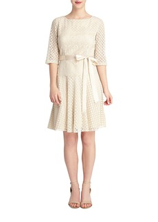 TAHARI ARTHUR S. LEVINE Lace Accent Fit And Flare Dress