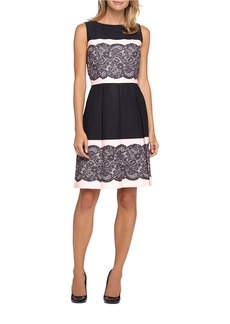TAHARI ARTHUR S. LEVINE Lace Fit-and-Flare Dress