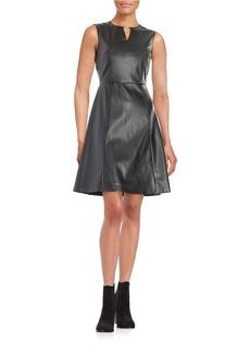 TAHARI ARTHUR S. LEVINE Leatherette Fit-and-Flare Dress