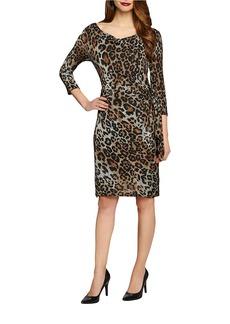 TAHARI ARTHUR S. LEVINE Leopard Print Ruched Dress