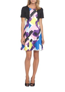 TAHARI ARTHUR S. LEVINE Mixed Media Fit-and-Flare Dress