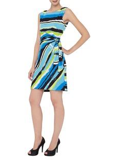 TAHARI ARTHUR S. LEVINE Painted Stripe Side-Gathered Dress