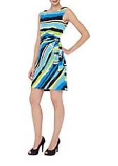 TAHARI ARTHUR S. LEVINE Painted Stripe Side-Gathered Dress