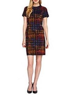 TAHARI ARTHUR S. LEVINE Plaid Sheath Dress