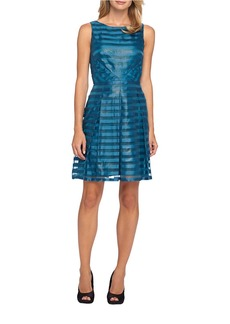 TAHARI ARTHUR S. LEVINE Striped Overlay Dress