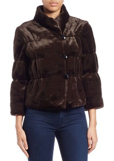 TAHARI ARTHUR S. LEVINE Three Quarter-Sleeve Faux-Fur Jacket
