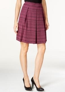 Tahari Asl A-Line Pleated Tweed Skirt