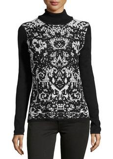 Tahari Angela Printed Turtleneck Knit Top