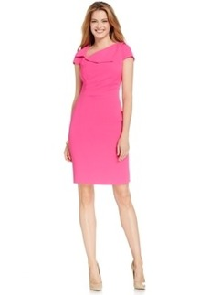 Tahari Asl Asymmetrical Collar Sheath Dress