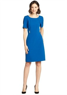 Tahari ASL azure blue stretch woven short sleeve sheath dress