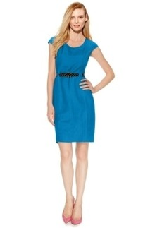 Tahari Asl Belted Linen-Blend Sheath Dress