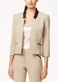 Tahari Asl Bi-Stretch Faux-Leather-Trim Jacket