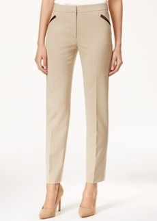 Tahari Asl Bi-Stretch Faux-Leather-Trim Pants