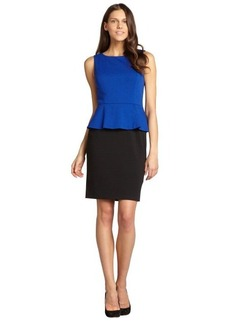 Tahari ASL black and cobalt peplum stretch sleeveless dress