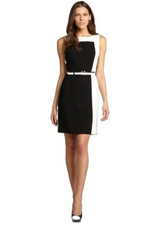 Tahari ASL black and ivory belted stretch sleeveless dress