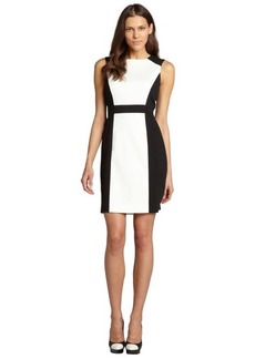 Tahari ASL black and ivory colorblocked stretch sleeveless dress