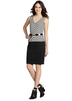 Tahari ASL black and white striped peplum belted dress