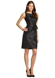 Tahari ASL black sleeveless side rouching pleat detail dress