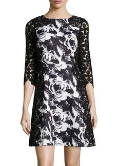 Tahari Bradhurst Floral 3/4-Sleeve Fit-and-Flare Dress
