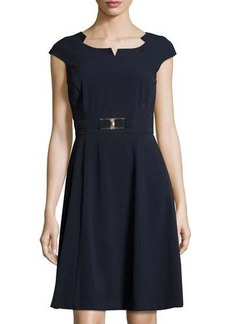 Tahari ASL Cap-Sleeve A-Line Dress W/Metallic Buckle