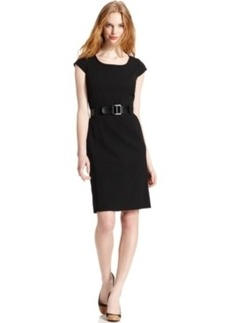 Tahari Asl Cap-Sleeve Belted Sheath Dress
