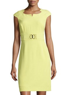 Tahari ASL Cap-Sleeve Buckle-Waist Sheath Dress