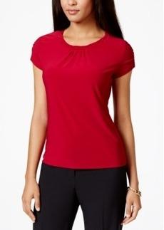 Tahari Asl Cap-Sleeve Solid Pleat-Neck Top