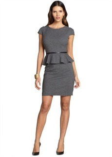 Tahari ASL charcoal peplum stretch capped sleeve dress