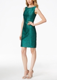 Tahari Asl Crystal-Embellished Jacquard Sheath Dress