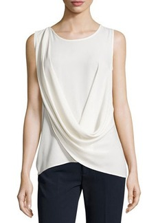 Tahari Dale Draped Sleeveless Blouse