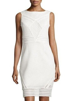 Tahari Duncan Sleeveless Honeycomb Dress