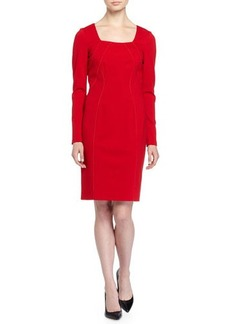 Tahari Eevi Long-Sleeve Square-Neck Sheath Dress