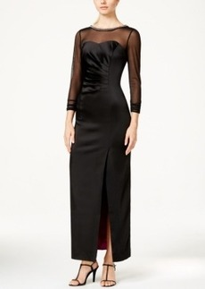 Tahari Asl Embellished Illusion-Sleeve Satin Dress