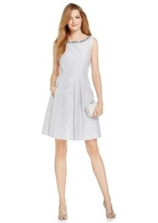 Tahari Asl Embellished Pleated A-Line Dress