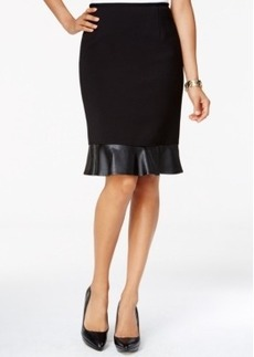 Tahari Asl Faux-Leather Flounce-Hem Pencil Skirt
