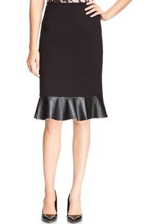 Tahari ASL Faux-Leather Ruffle-Hem Pencil Skirt