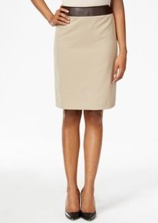 Tahari Asl Faux-Leather-Trim Bi-Stretch Pencil Skirt