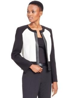 Tahari Asl Faux-Leather-Trim Colorblocked Jacket