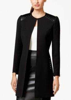 Tahari Asl Faux-Leather-Trim Studded Ponte Jacket
