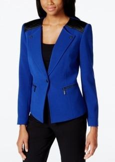 Tahari Asl Faux-Leather Trim Zip Jacket