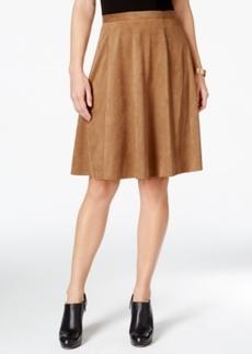 Tahari Asl Faux-Suede Flare Skirt