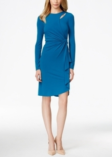 Tahari Asl Faux-Wrap Ruffled Cutout Dress