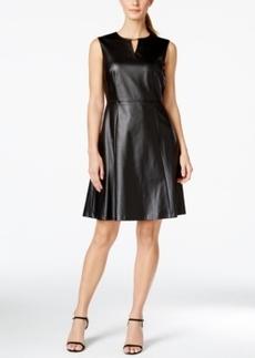 Tahari Asl Fit & Flare Faux-Leather Dress